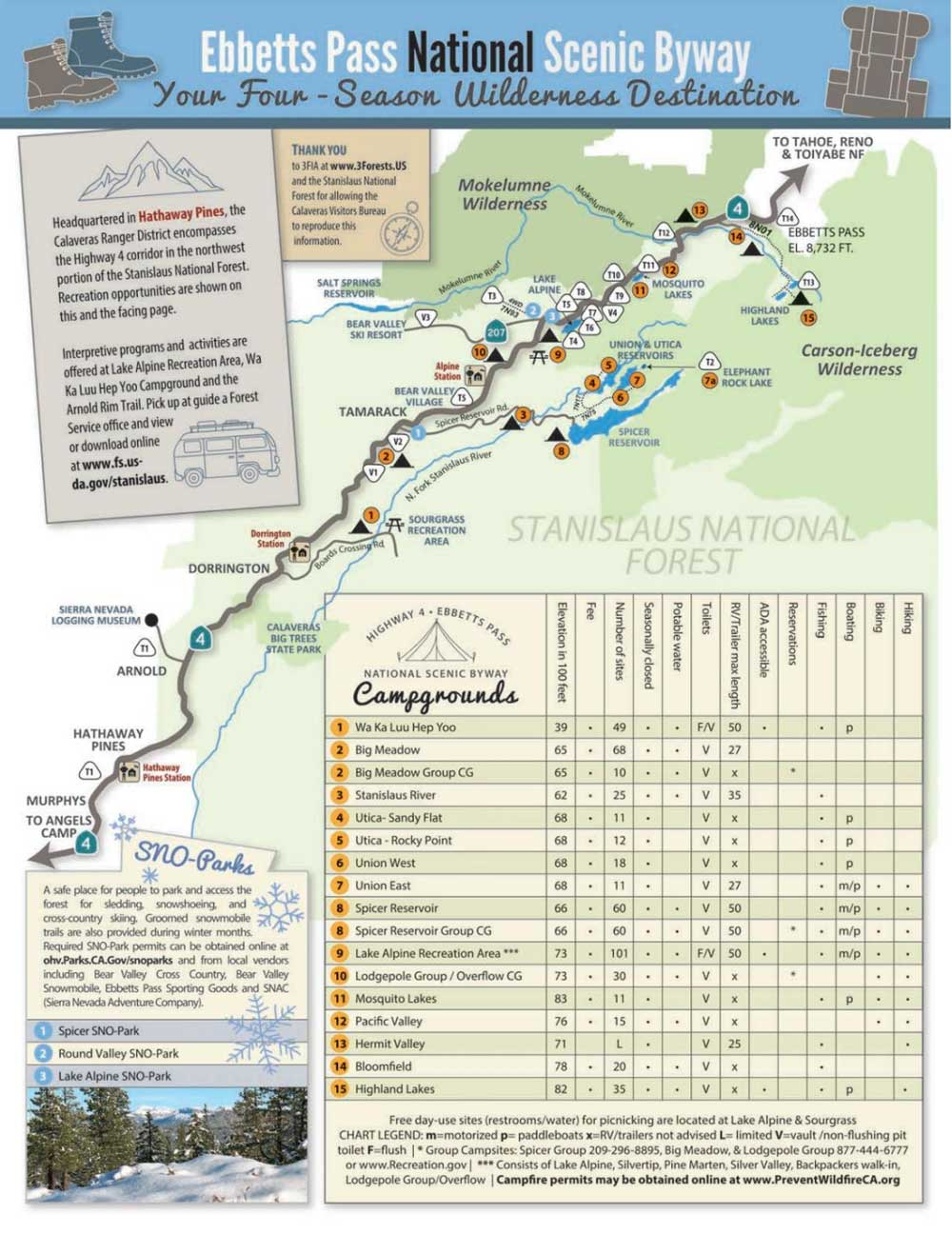 Ebbetts Pass map